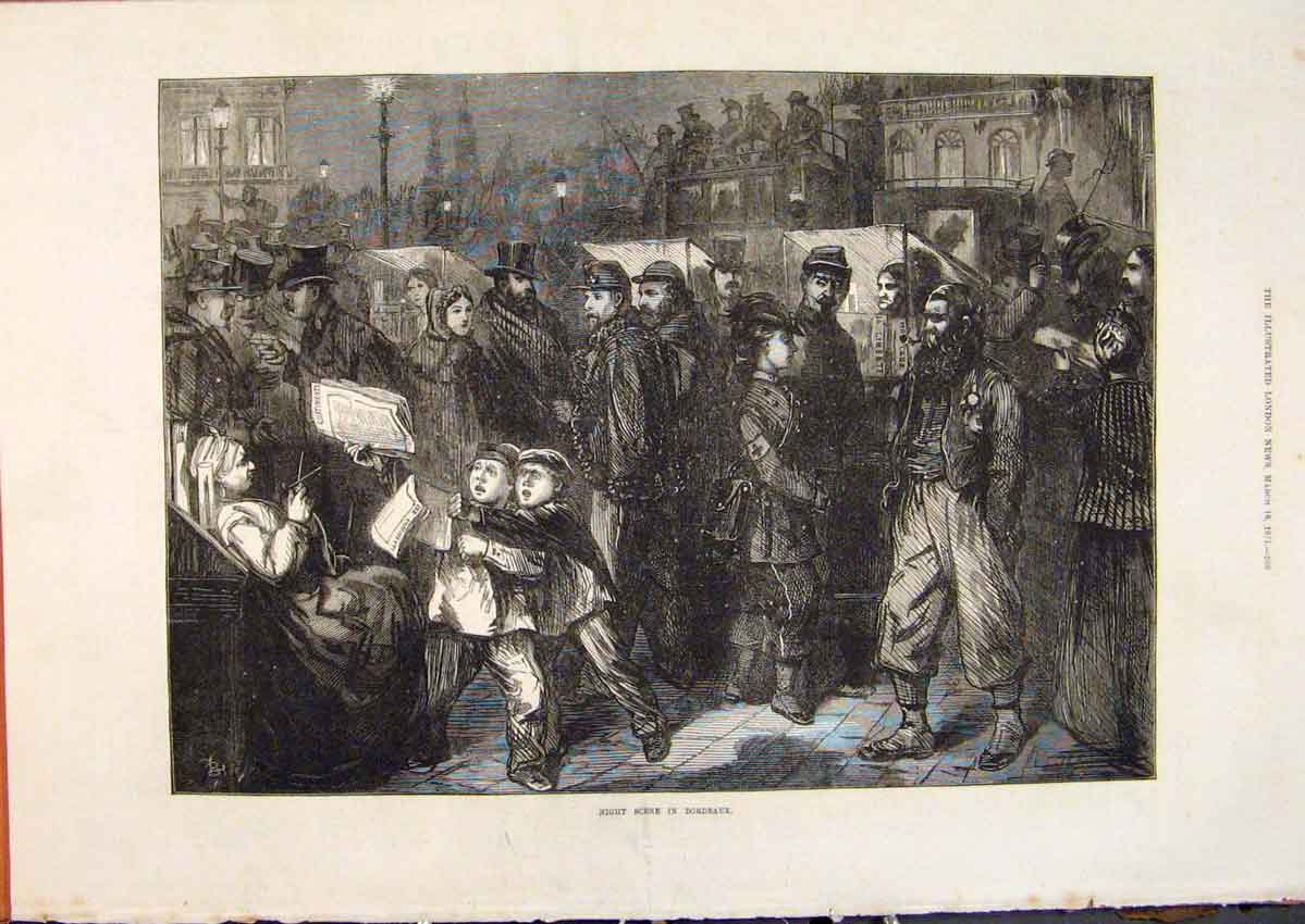 Print Bordeaux France Night Scene Children Newsboys 1871 68Maa0 Old Original