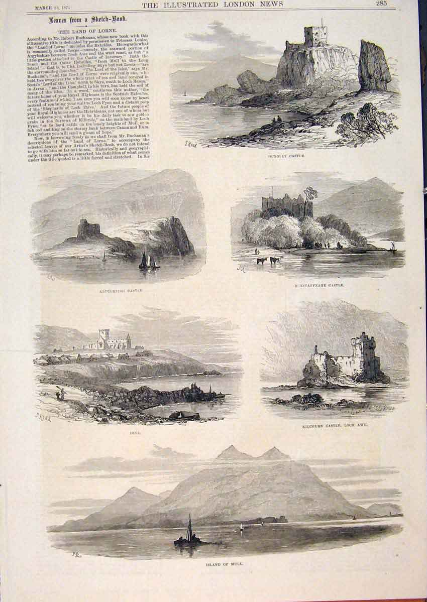 Print Sketches Lorne Dunolly Castle Iona Mull Loch Awe 1871 85Maa0 Old Original