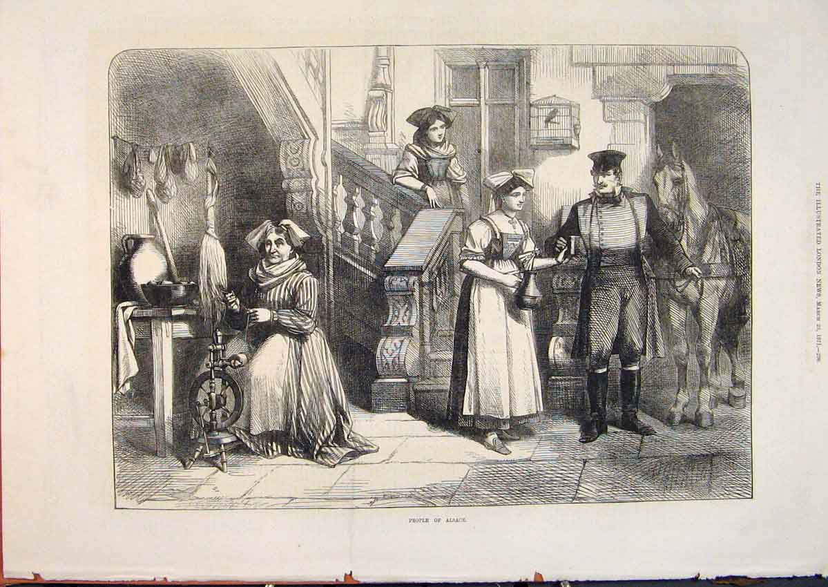 Print People Alsace France French 1871 96Maa0 Old Original
