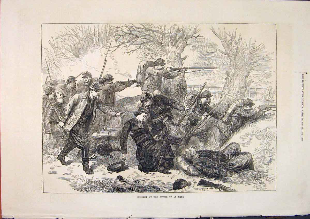 Print Battle Le Mans Soldiers Troops War France 1871 00Maa0 Old Original