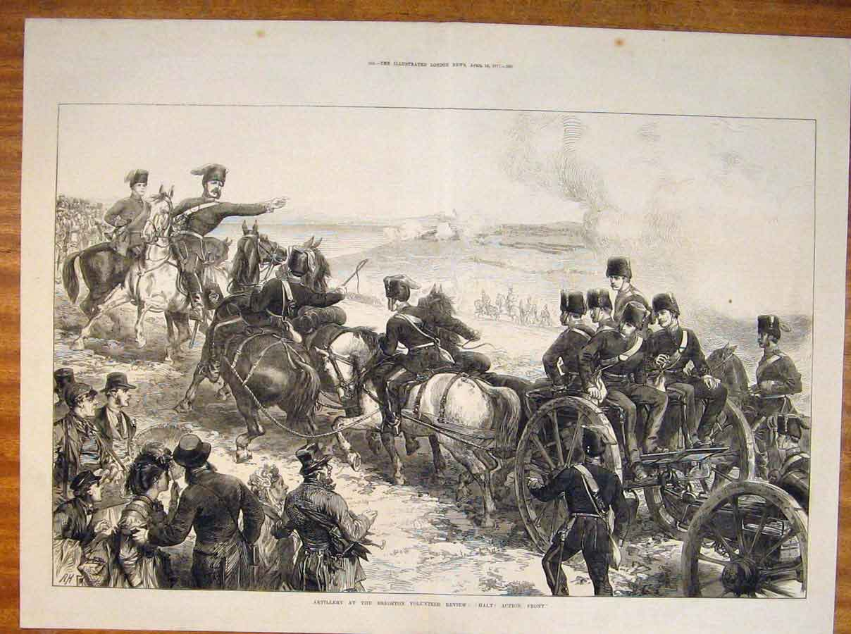Print Artillery Brighton Volunteer Review 1871 67Tmaa0 Old Original
