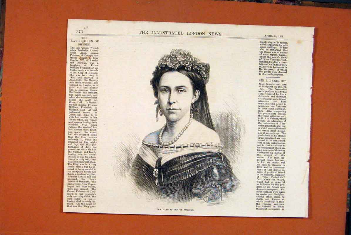 Print Portrait Queen Sweden Fine Art 1871 76Umaa0 Old Original