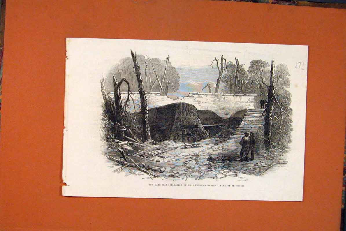 Print War Prussian St Cloud Battery 1871 77Lmaa0 Old Original