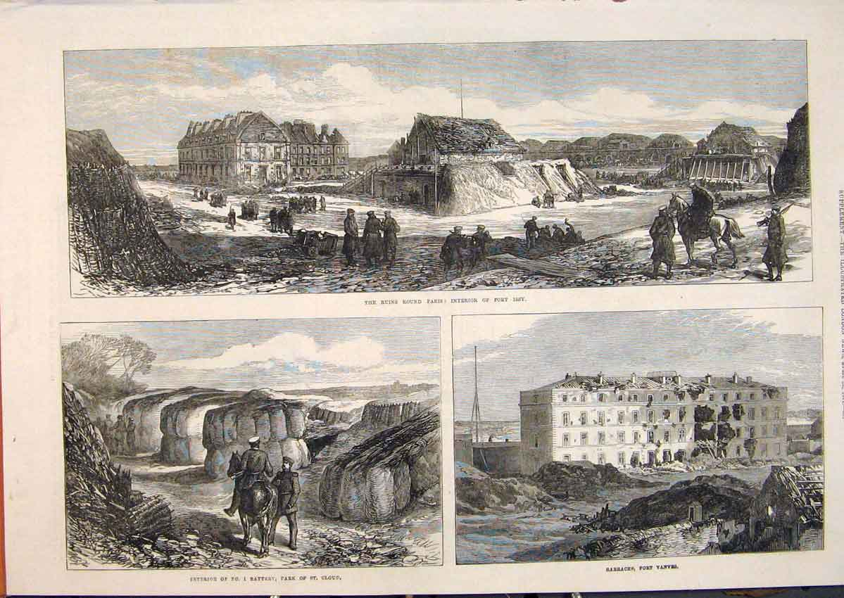 Print Ruins Paris France Fort Issy Battery St Cloud Vanves 97Maa0 Old Original