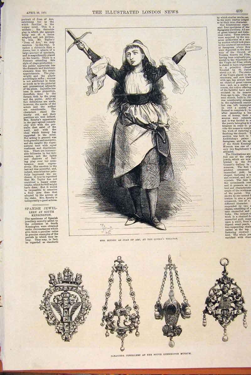 Print Rousby Joan Arc Theatre Saraossa Jewellery 1871 09Maa0 Old Original