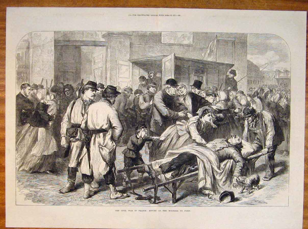 Print Civil War France Paris Wounded Troops 1871 23Tmaa0 Old Original