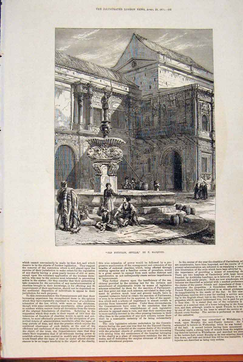 Print Fountain Seville Macquoid Painting Fine Art 1871 33Maa0 Old Original