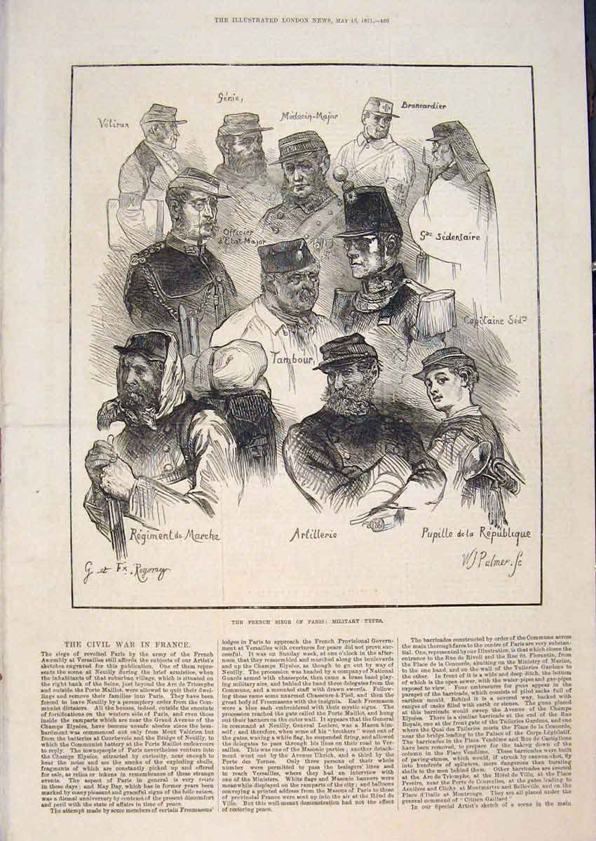 Print French Siege Paris Military Portrait Civil War France 69Maa0 Old Original