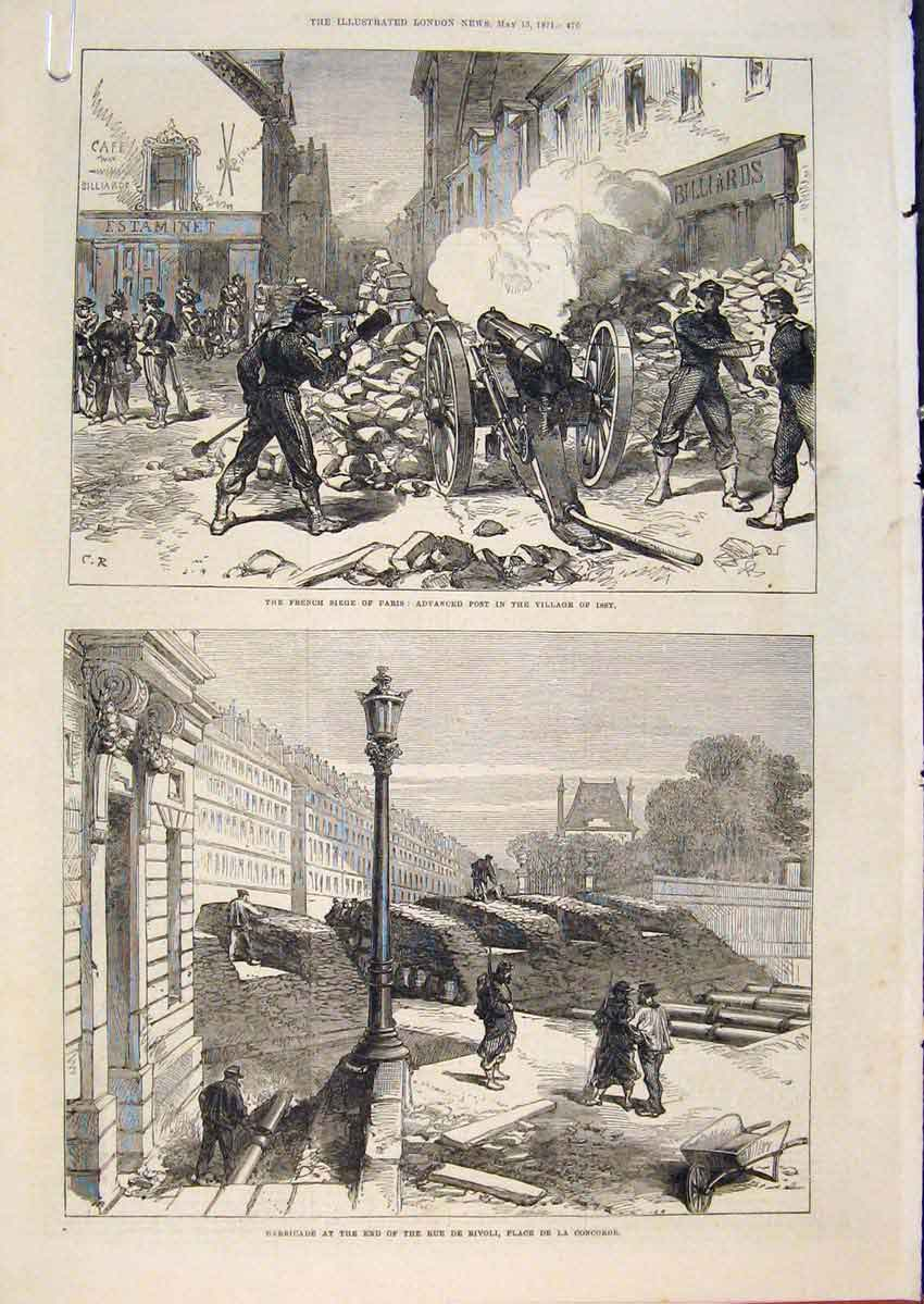 Print Paris France Issy Village Thiers Communist Church 1871 76Amaa0 Old Original