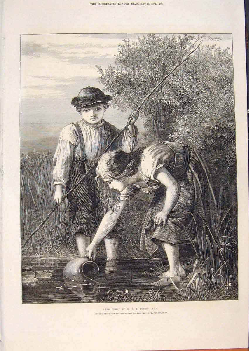 Print Pond Children Water Dobson Fine Art 1871 01Maa0 Old Original
