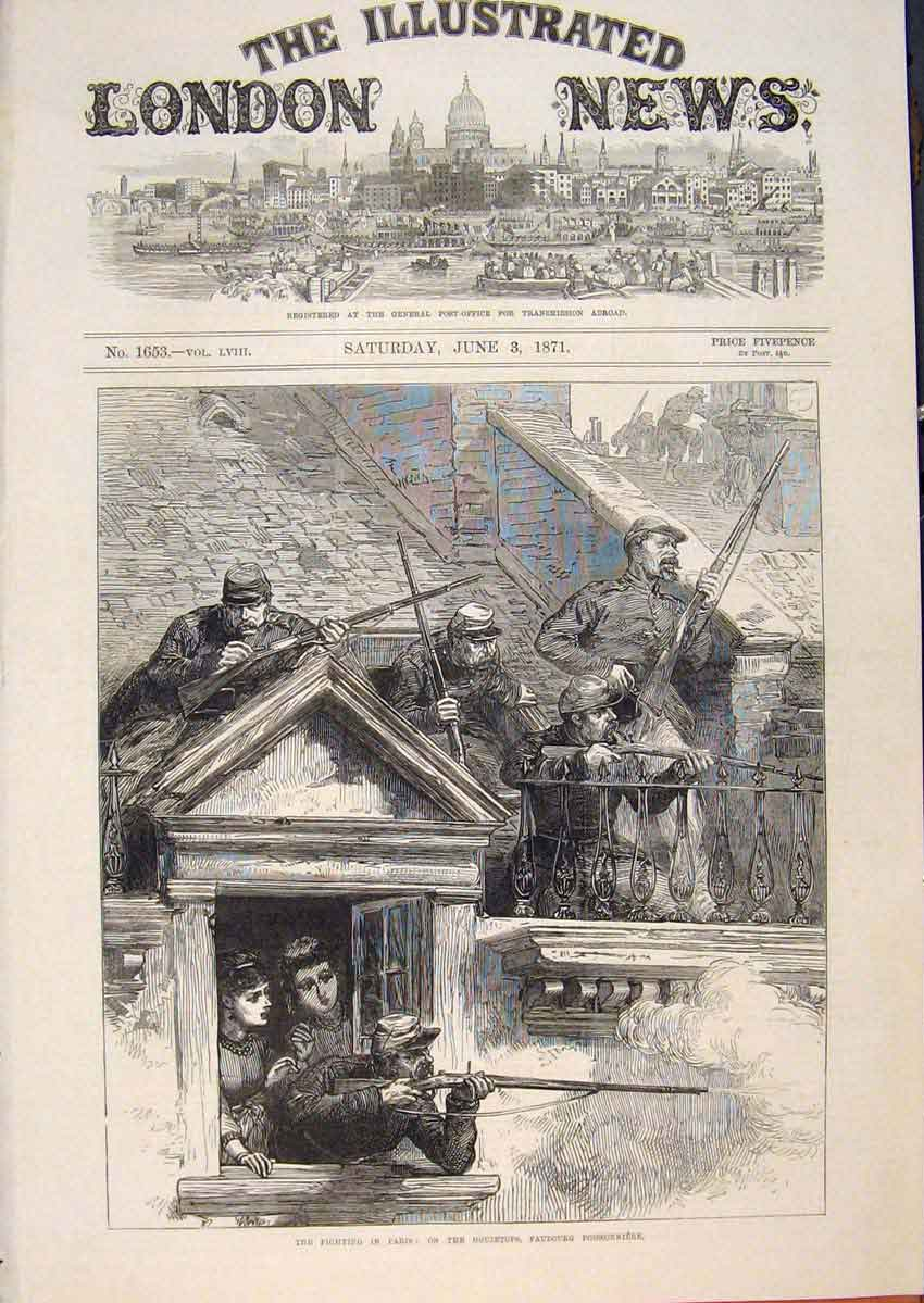 Print Paris Fighting Faubourg Poissonniere Troops France War 34Maa0 Old Original