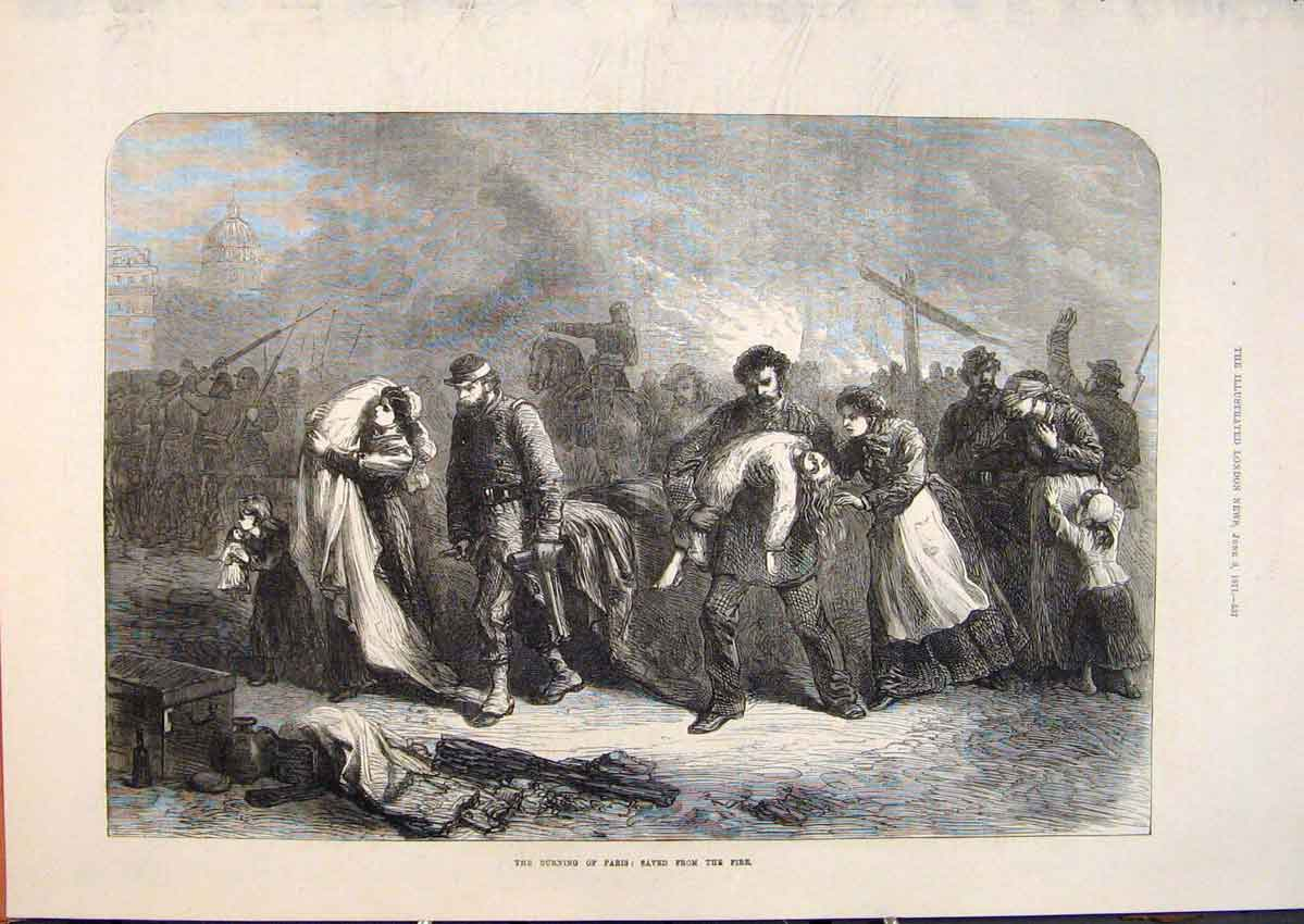 Print Paris France Fire Burning People Children 1871 37Maa0 Old Original