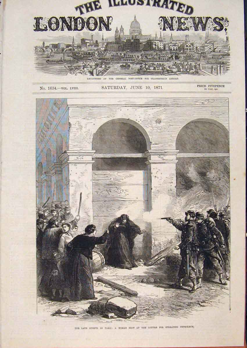Print Paris France Civil War Louvre Petroleum Woman 1871 58Maa0 Old Original