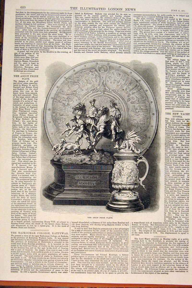 Print Ascot Races Prize Plate Hunt Cup 1871 00Maa0 Old Original