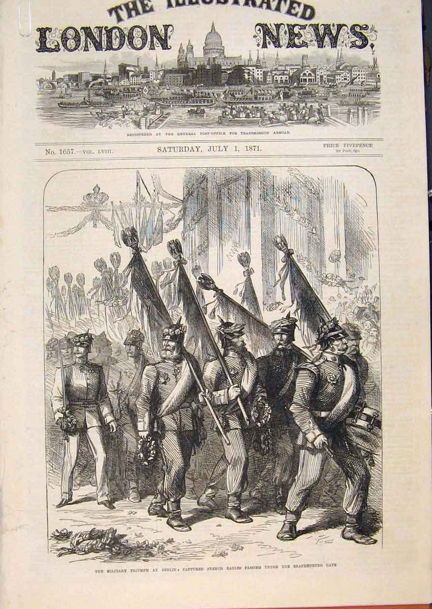 Print Military Triumph Berlin Sedan Trophy Brandenburg 1871 32Amaa0 Old Original