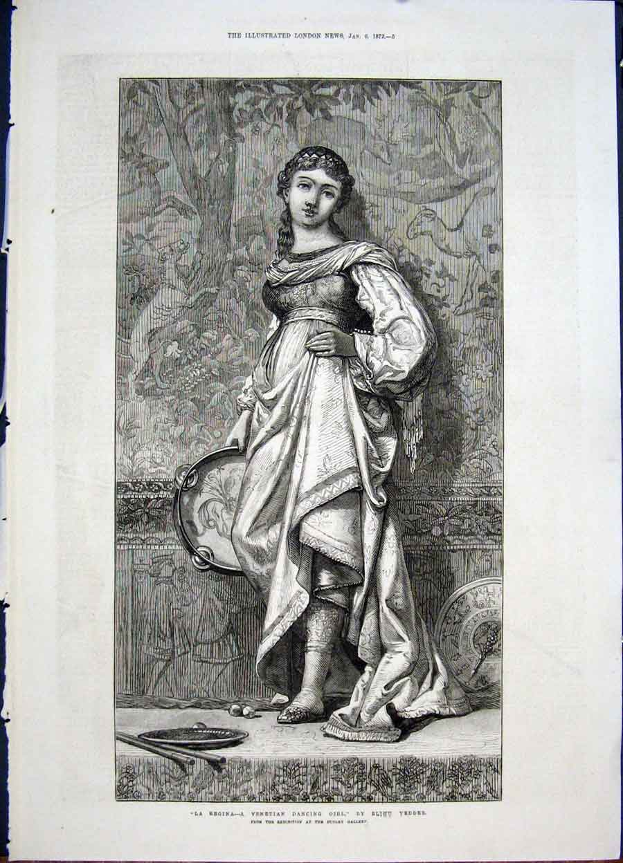 Print Regina Venetian Girl Dance Vedder Fine Art 1872 05Maa0 Old Original