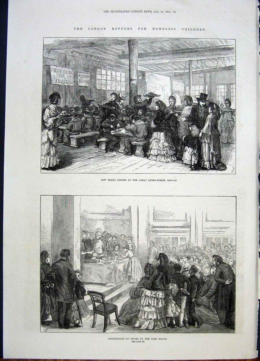 Print Homeless Children London Mayor Queen Street 1872 28Maa0 Old Original