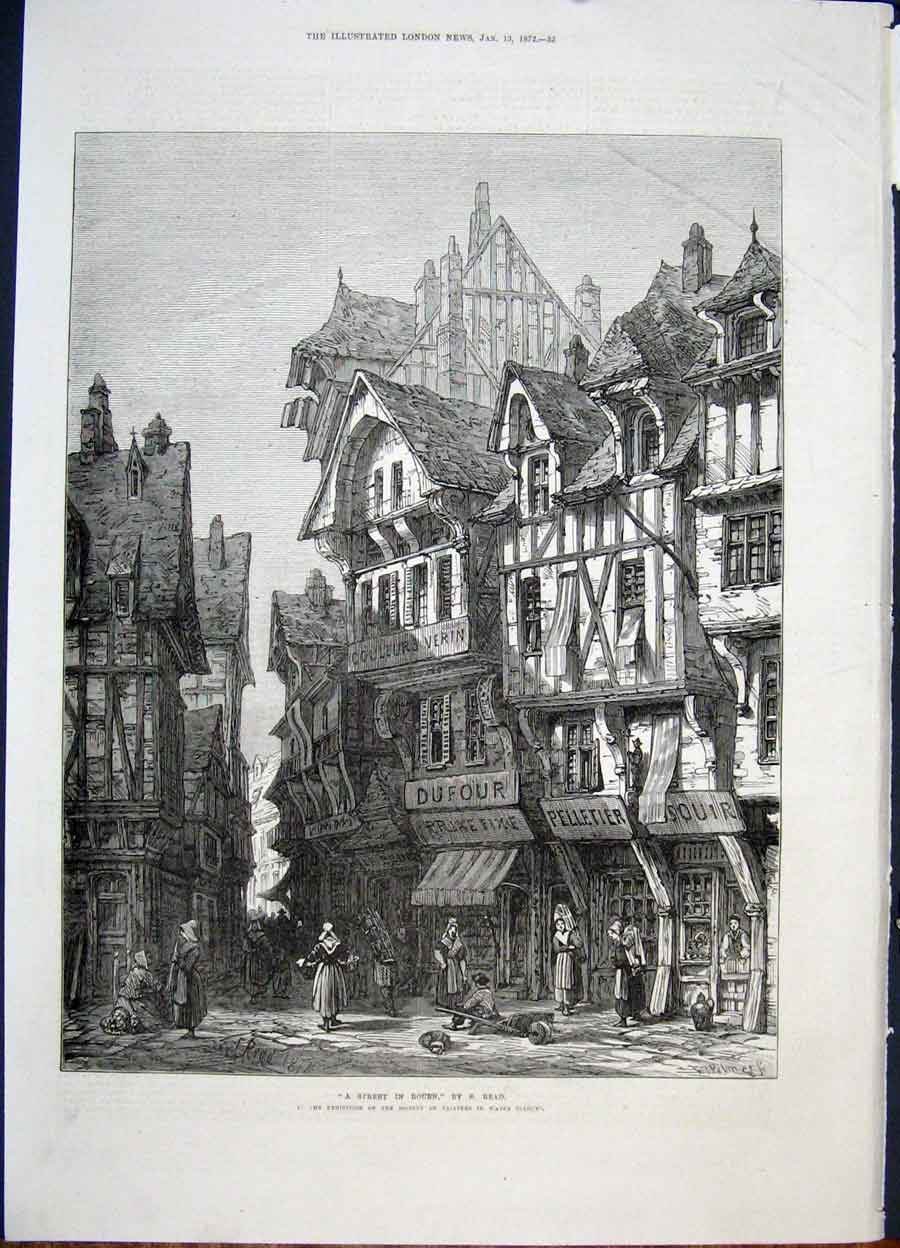 Print Rouen Read France Village Fine Art 1872 32Maa0 Old Original