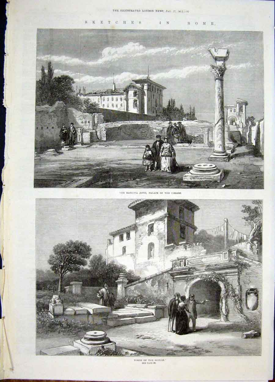 Print Sketches Rome Italy Palace Tombs Caesars Catacombes 97Amaa0 Old Original