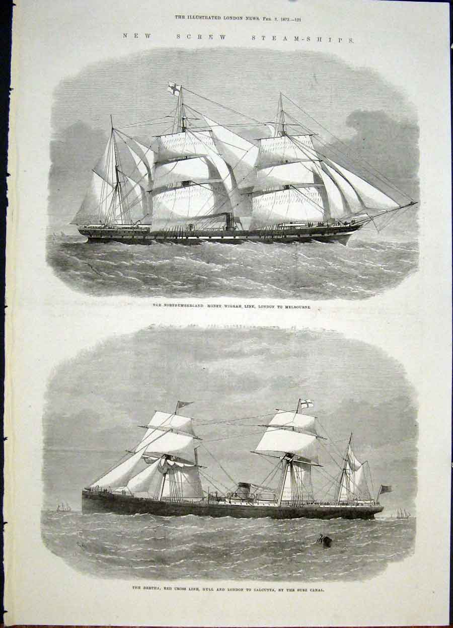 Print Screw Steamships Ship Steam Northumberland Wigram Suez 21Maa0 Old Original
