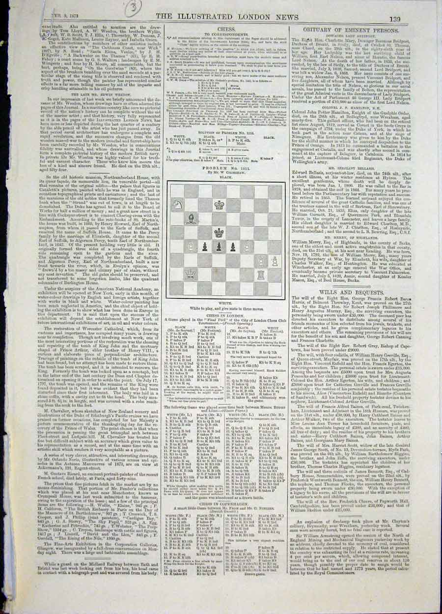 Print Chess Problems And Solutions 1872 39Maa0 Old Original
