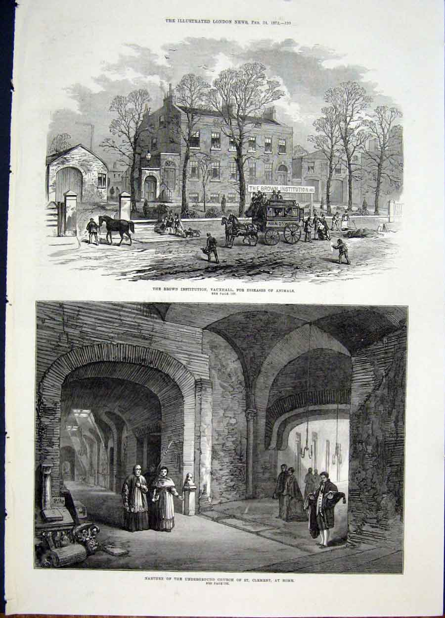 Print Vauxhall Animal London Narthex Church Rome Clement 93Maa0 Old Original