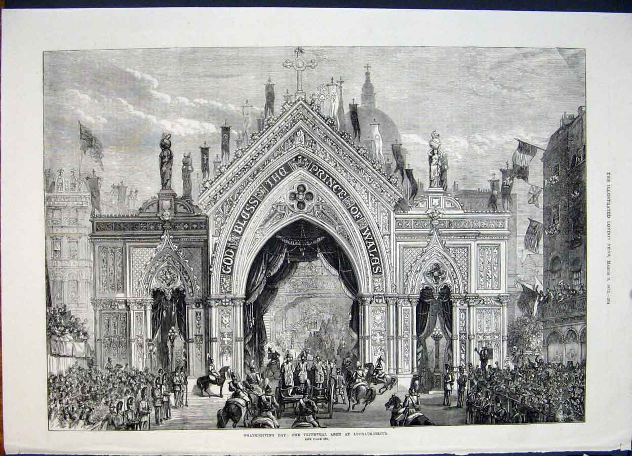 Print Triumphal Arch Ludgate Circus Thanksgiving 1872 04Maa0 Old Original