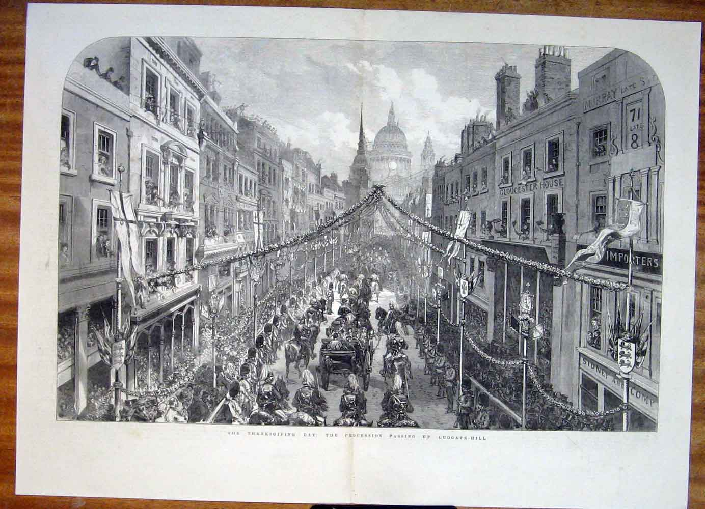 Print Thanksgiving Ludgate Hill London Procession 1872 27Tmaa0 Old Original