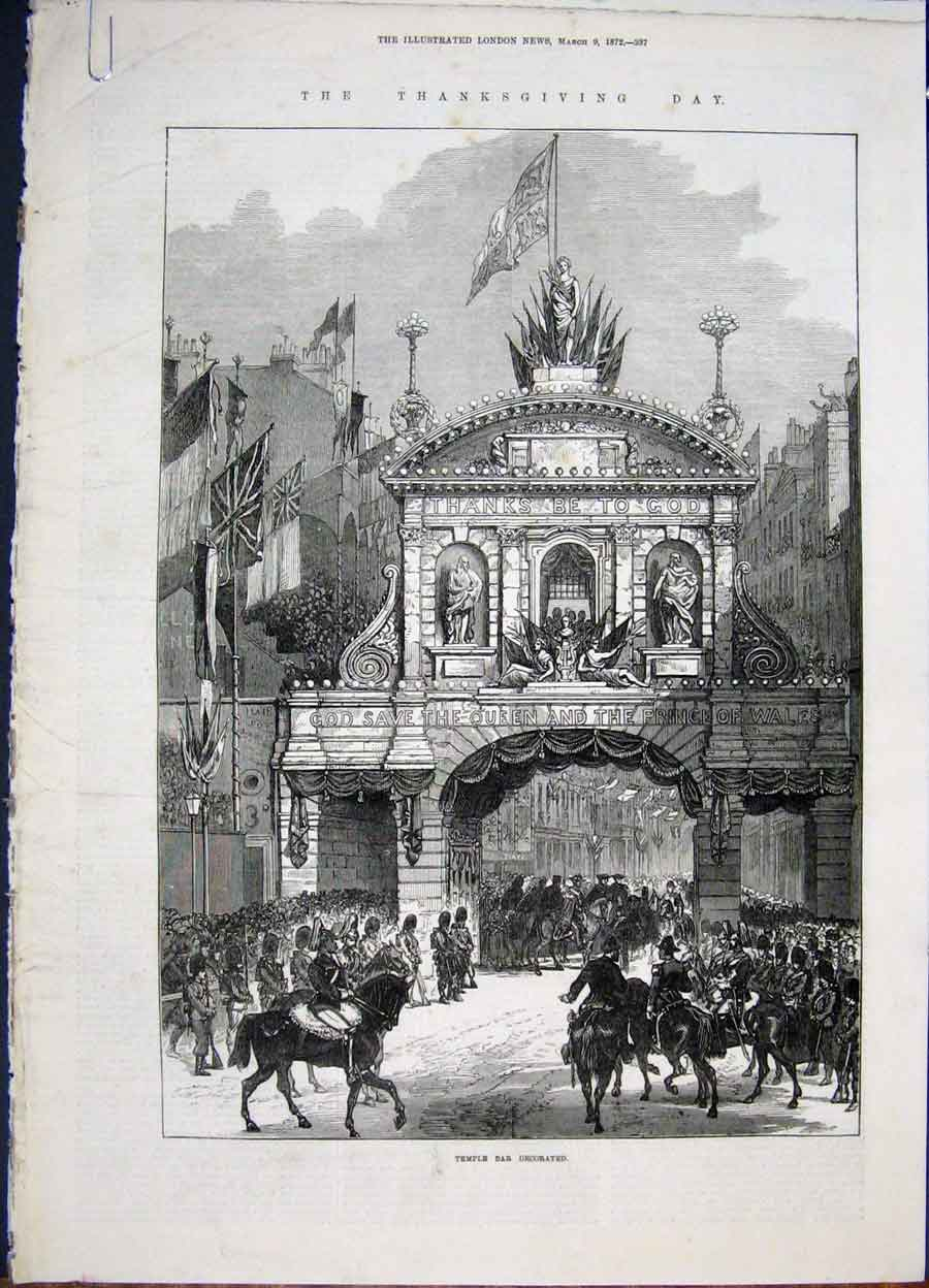 Print Temple Bar Paul'S Cathedral Illumination 1872 37Amaa0 Old Original