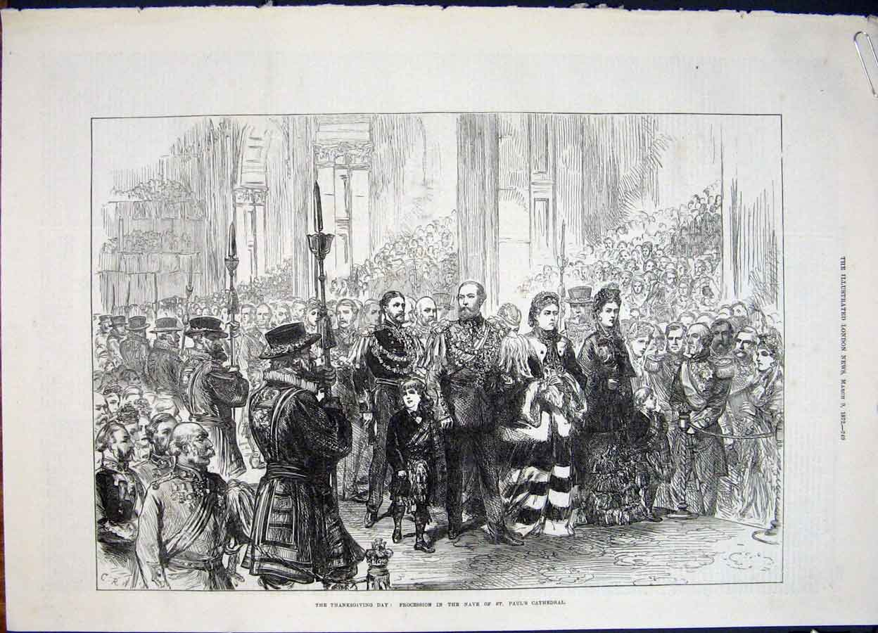 Print Procession Paul'S Cathedral London Oxford Street 1872 49Amaa0 Old Original