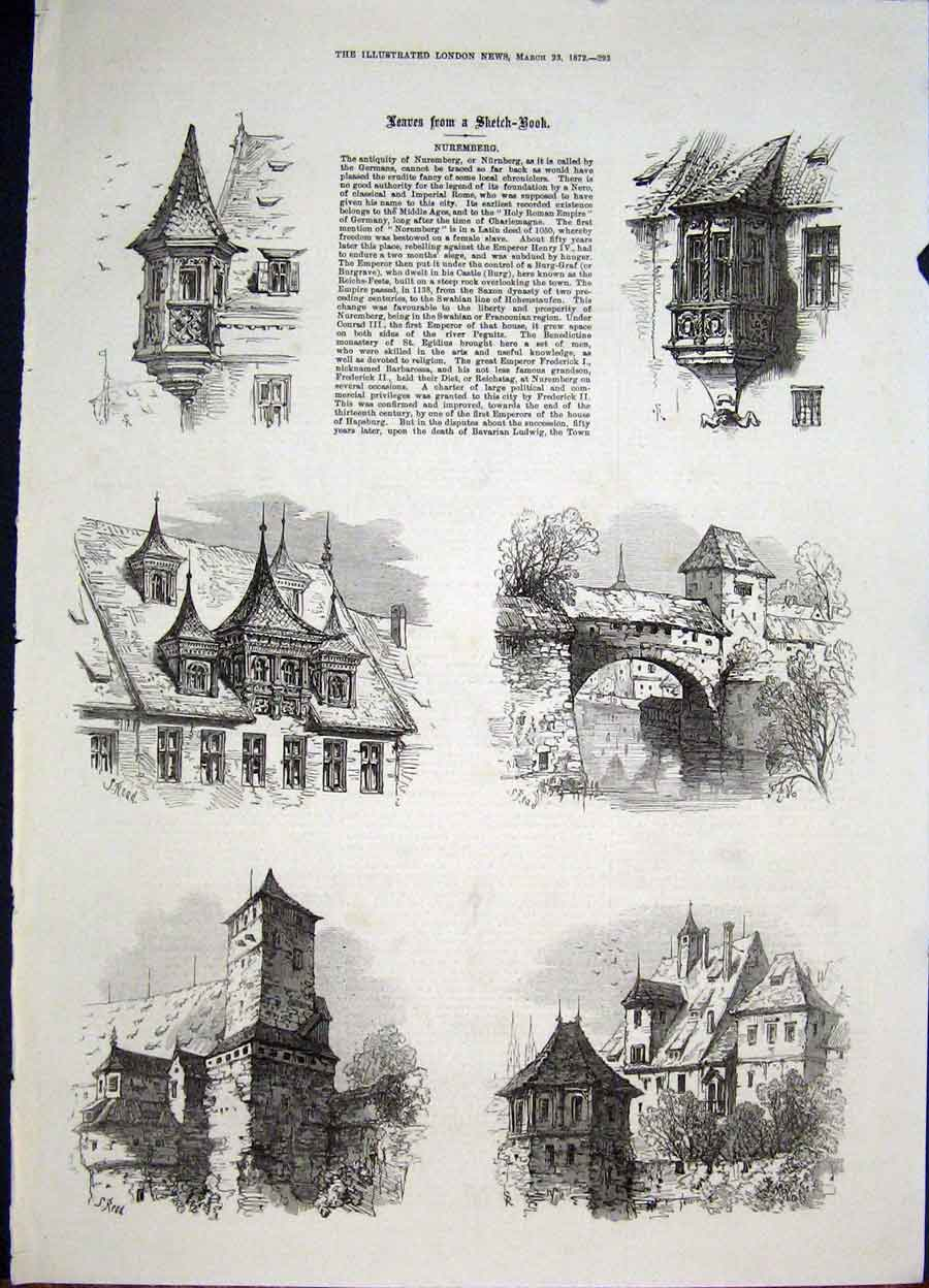 Print Nuremburg Sketches Germany German 1872 93Maa0 Old Original