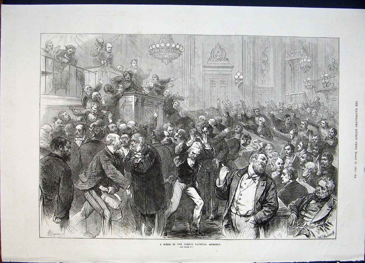 Print French National Assembly France Paris 1872 08Maa0 Old Original