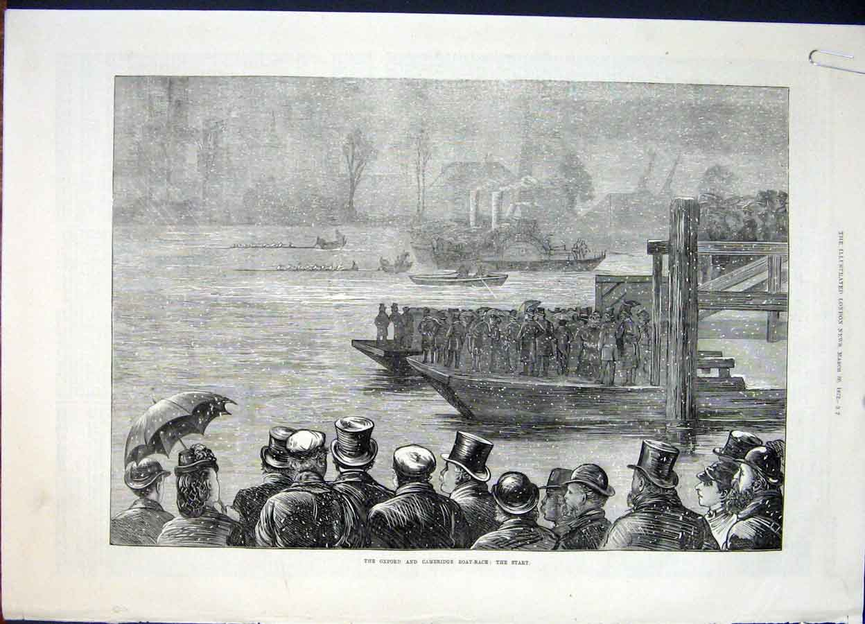 Print Oxford Cambridge Boat Race Weather Thames London 1872 12Amaa0 Old Original