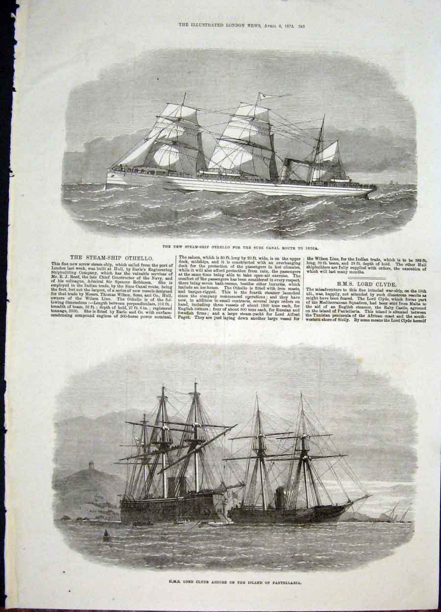Print Steam Ship Othello Suez Canal Hms Clyde Pantellaria 45Maa0 Old Original