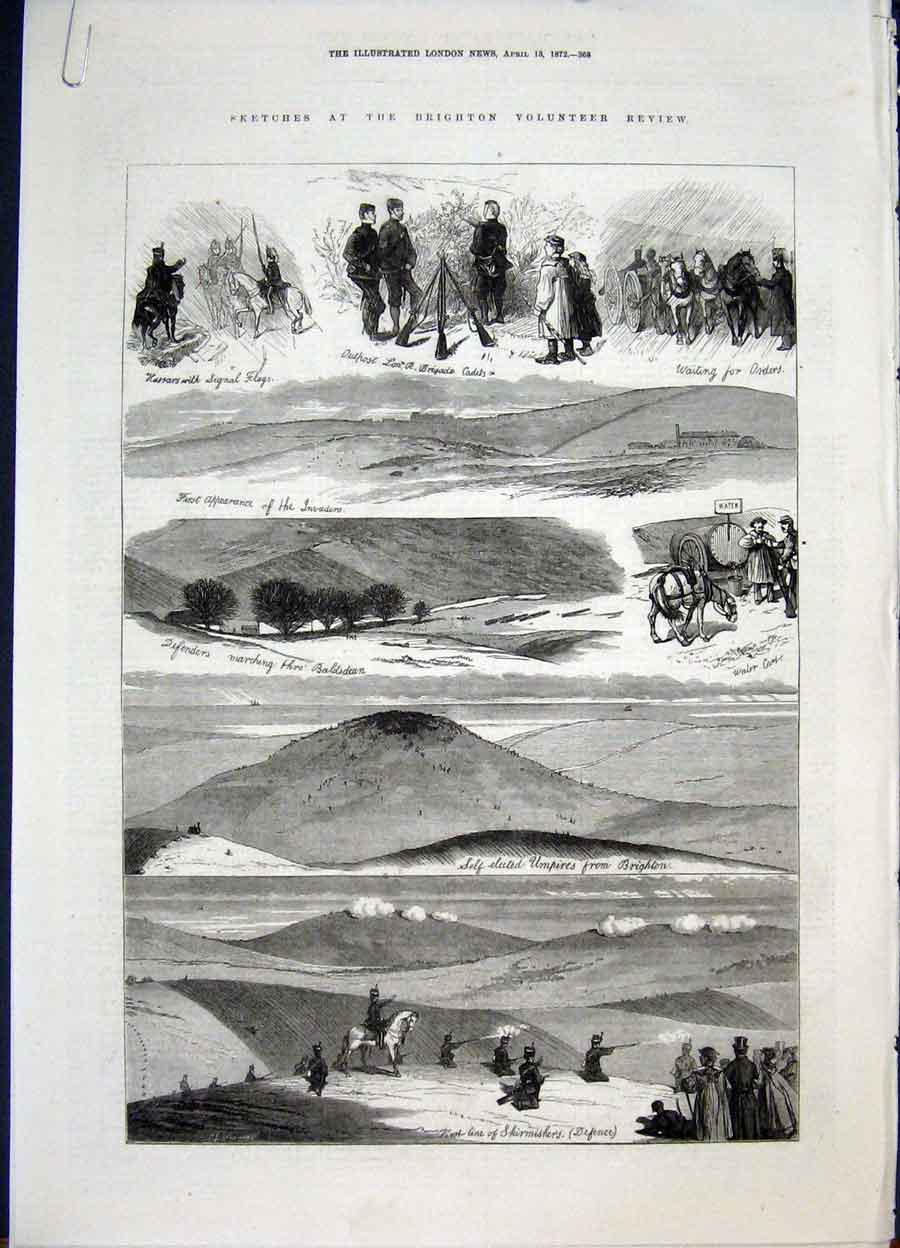 Print Brighton Volunteer Sktches Baldsdean Paris Fashion 1872 68Amaa0 Old Original