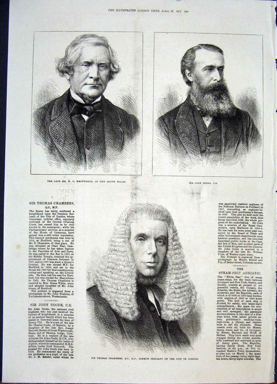 Print Portrait Wentworth Coode Chambers London 1872 00Maa0 Old Original