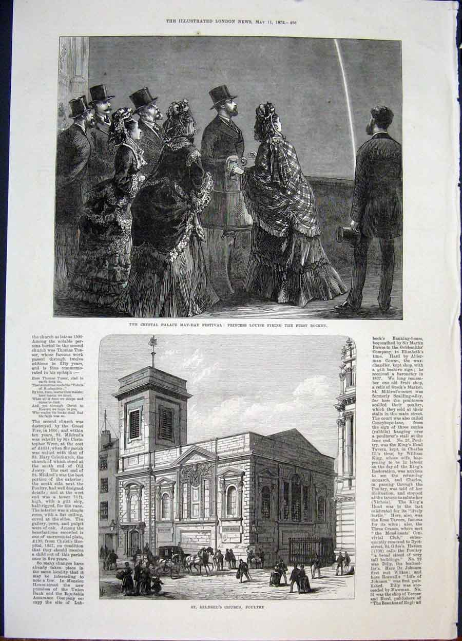 Print Crystal Palace May Festival Mildred'S Church Poultry 56Maa0 Old Original