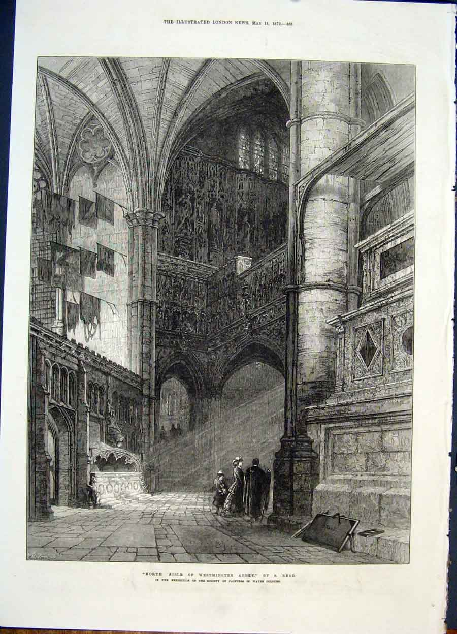 Print Westminster Abbey Read London Aisle 1872 68Maa0 Old Original