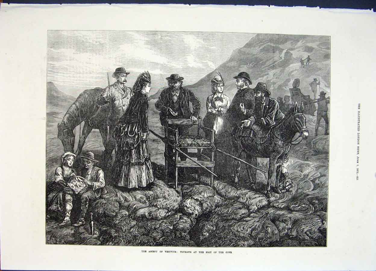 Print Vesuvius Tourists Cone Ascent 1872 21Maa0 Old Original