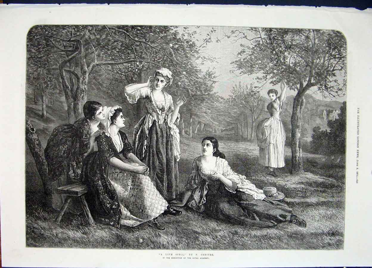 Print Love Spell Chester Ladies Orchard Fine Art 1872 45Maa0 Old Original