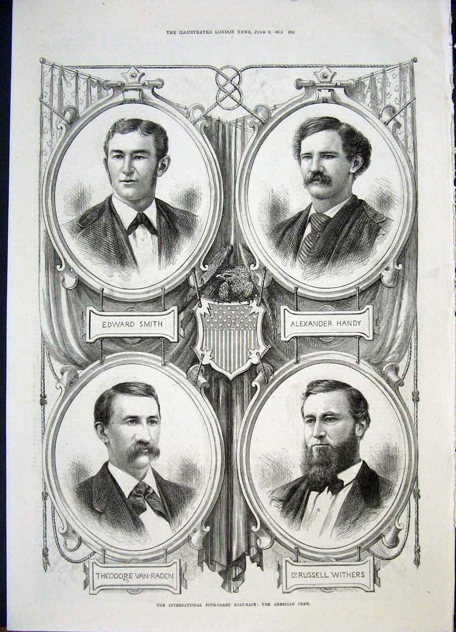 Print Portrait Boat Race Four Oar Crew American English 1872 52Amaa0 Old Original