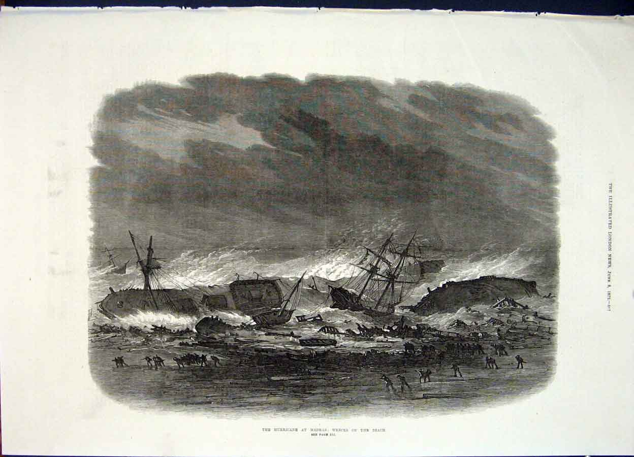 Print Hurricane Madras Wrecks Beach Wreck 1872 57Maa0 Old Original