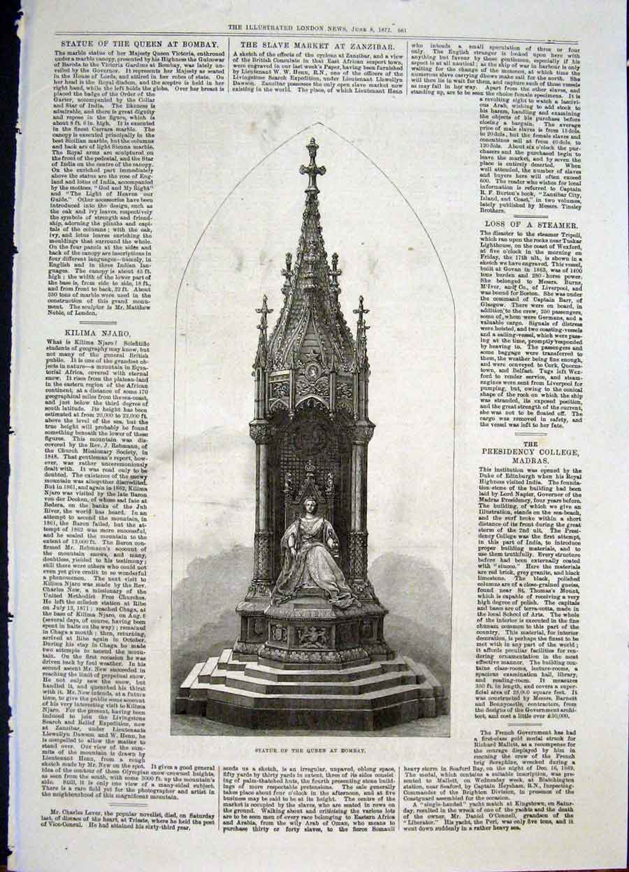 Print Statue Queen Bombay 1872 61Maa0 Old Original