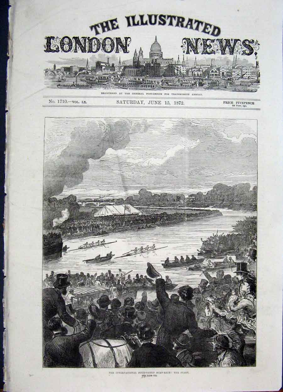Print Boat Race Four River International London 1872 66Maa0 Old Original