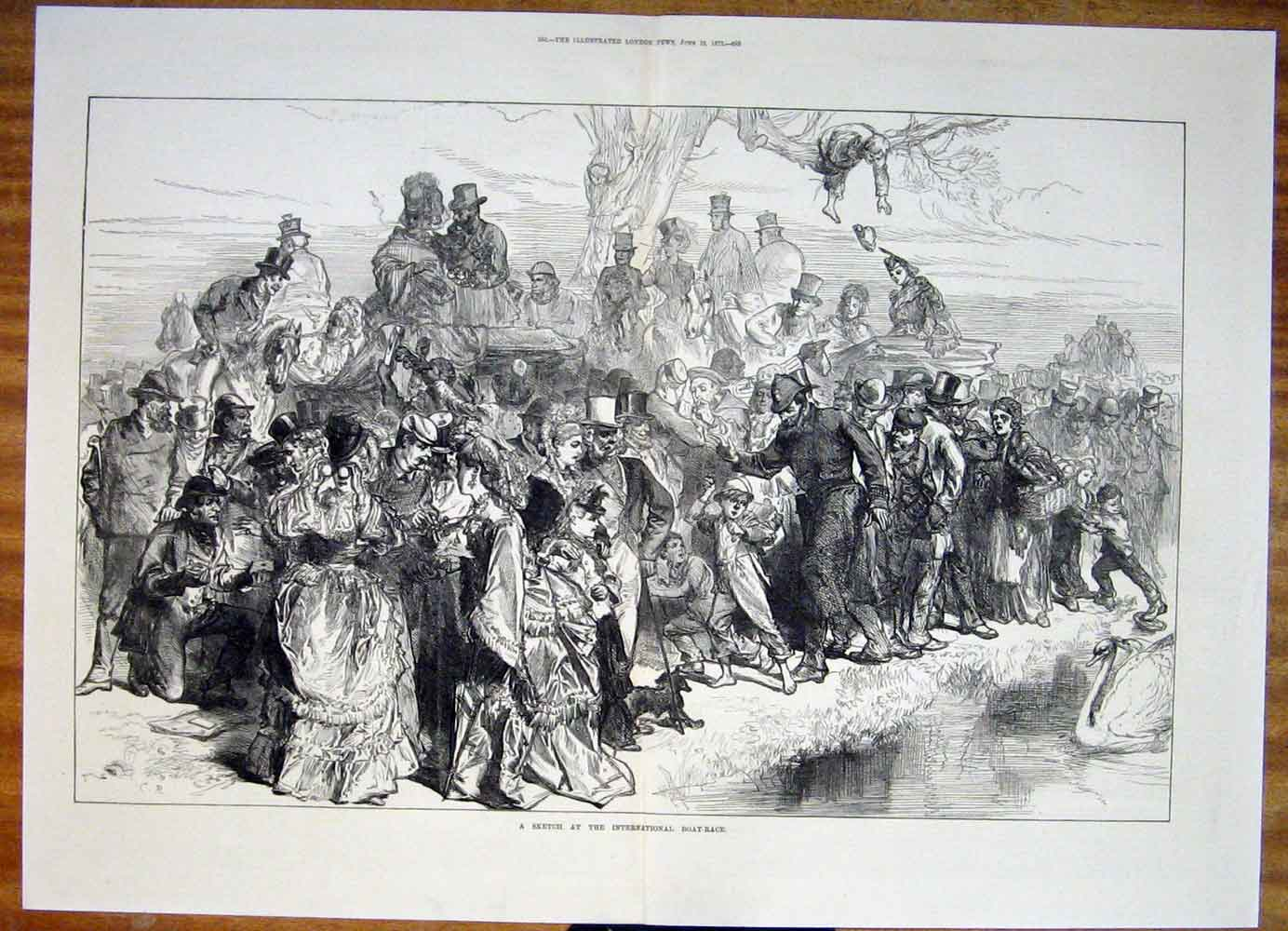 Print International Boat Race Rive Swan Sketch 1872 83Tmaa0 Old Original