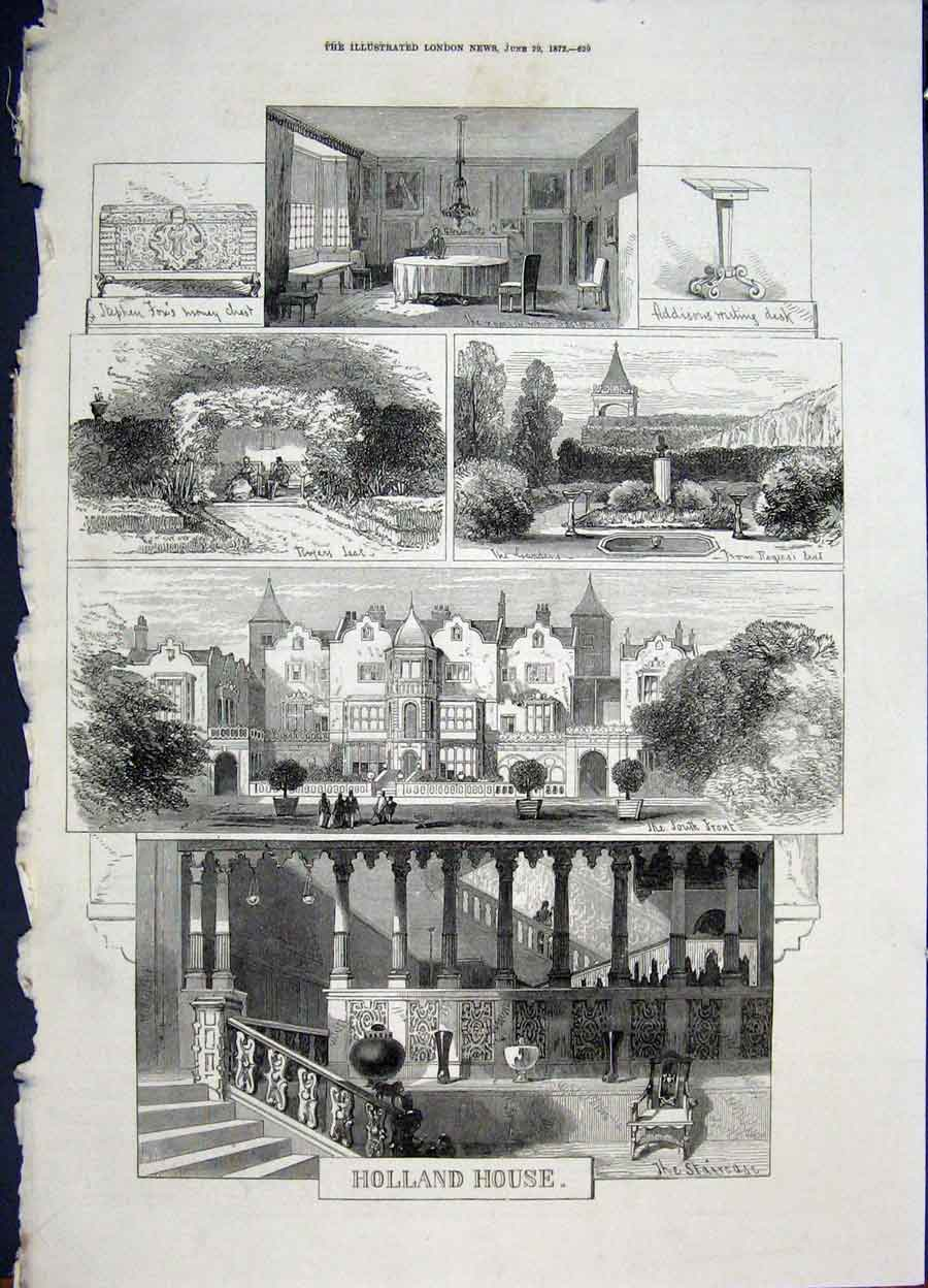 Print Holland House London Addison 1872 29Maa0 Old Original
