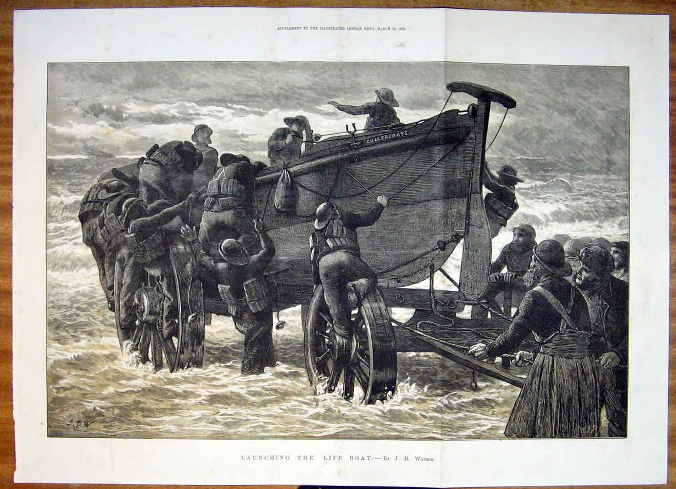 Print Launching Life Boat Launch Sea Fine Art 1872 50Tmaa0 Old Original