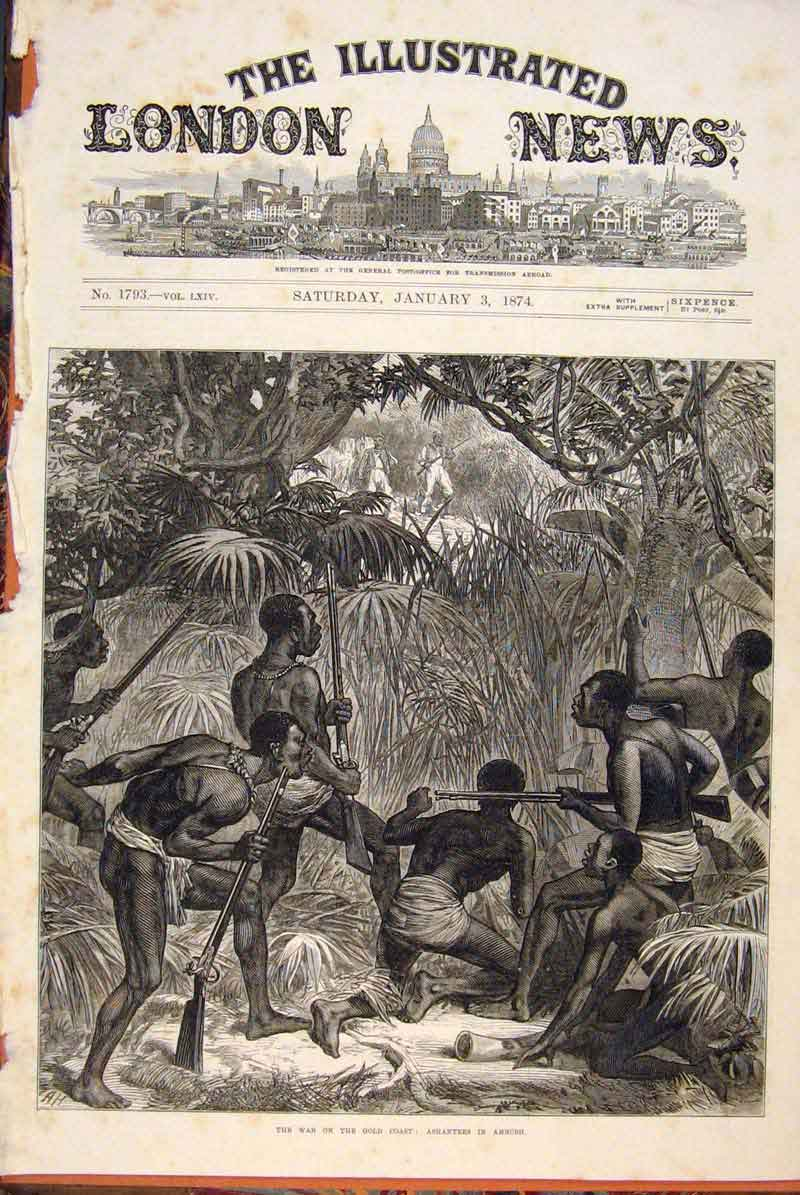 Print War Gcoast Ashantee Ambush 1874 02Maa0 Old Original
