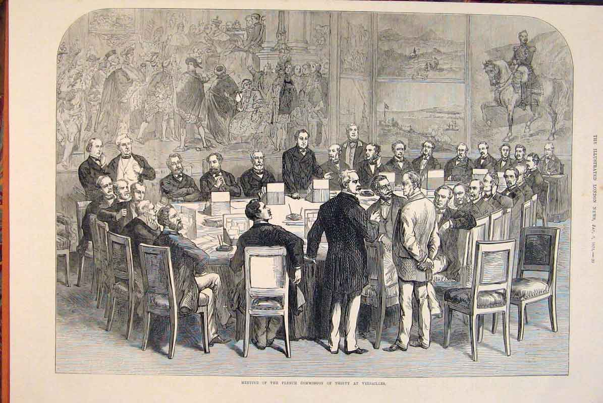 Print French Commission Versailles Paris France Meeting 1874 20Maa0 Old Original
