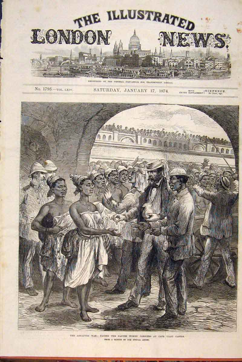 Print Ashantee War Sketch Fantee Women Cape Coast Castle 1874 46Maa0 Old Original
